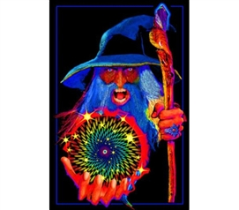 Fun Dorm Stuff - Mystic Wizard Blacklight Poster - Dorm Must-Haves