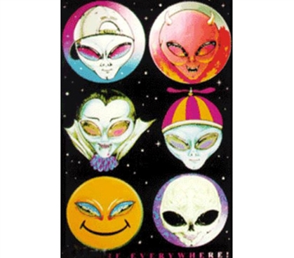 College Essentials - Alien Faces Blacklight Poster - Decor For Dorms