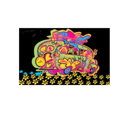 Fun Dorm Stuff - Funky Bus Blacklight Poster - College Decorations