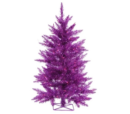"Holiday Dorm Room Decorations 2'x23"" Purple Tree with Mini Lights"