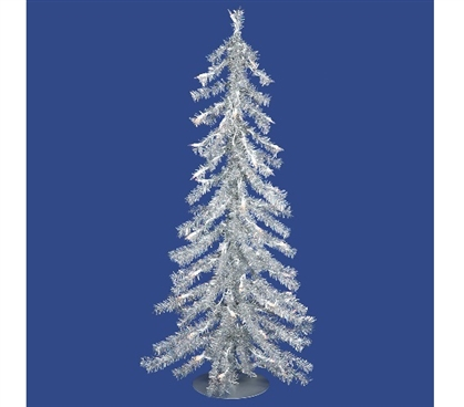 "Dorm Room Decorations 2'x23"" Silver Tree with Mini Lights"