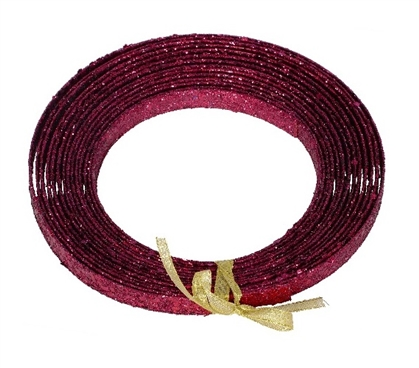 Holiday Dorm Room Decorations 23' Burgundy Glitter Ribbon