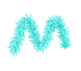 "9'x14"" Aqua Fir Garland with Aqua Mini Dorm Lights on Aqua Wire Holiday Dorm Room Decorations"