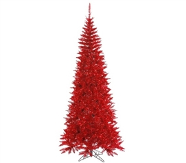 "Holiday Decorations 4.5'x24"" Red Slim Fir Tree"