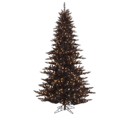 "Holiday Dorm Room Decorations 3'x25"" Black Fir Tree with Clear Mini Dorm Lights on Black Wire"