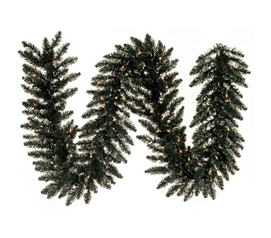 "Dorm Room Decorations 9'x14"" Black Fir Garland with Black Mini Dorm Lights on Black Wire"