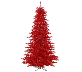 "Holiday Dorm Room Decorations 3'x25"" Tinsel Red Fir Tree with Red Mini Lights on Red Wire"