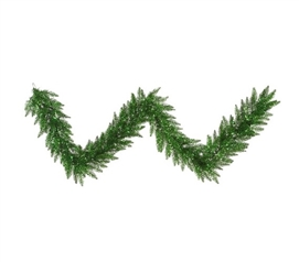 "9'x14"" Tinsel Green Garland with Green Mini Dorm Lights on Green Wire Holiday Dorm Room Decorations"
