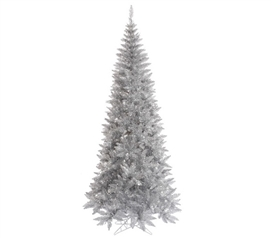 "Holiday Dorm Room Decorations 4.5'x24"" Tinsel Silver Slim Fir Tree"