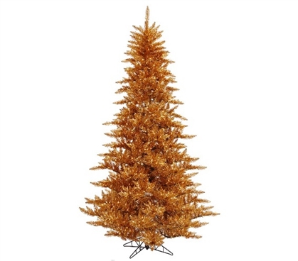 "3'x25"" Copper Fir Tree with Clear Mini Lights on Yellow Wire Holiday Dorm Room Decorations Christmas Trees"