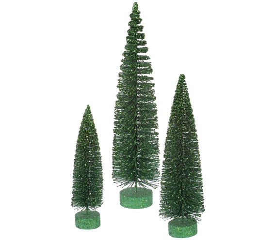 Emerald Glitter Oval Tree Set
