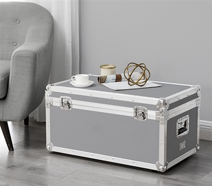 Essential Dorm Room Trunk with Wheels for Easy Transport Sleek VIN Armored Trunk Alloy Gray