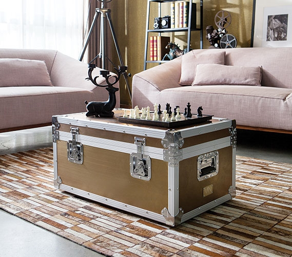 living room trunks. VIN Steel Plated Trunks  Se Leva Destination Copper