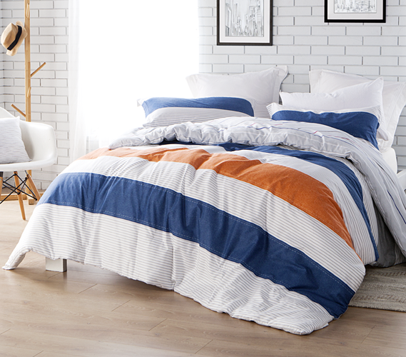 Blue And Orange Stripes Designer Comforter Twin Xl