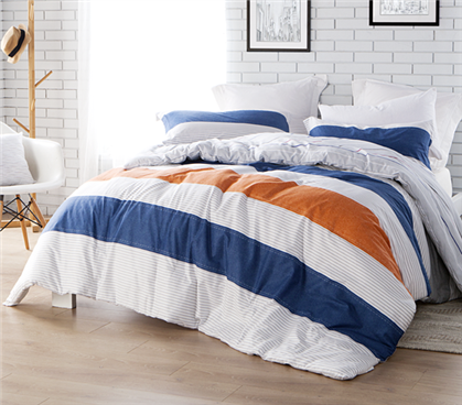 College Comforter Set - Orange and Blue Striped Dorm Bedding Extra Long Twin