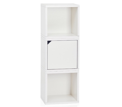3 Cube Stackable Dorm Storage - White Dorm room organizer