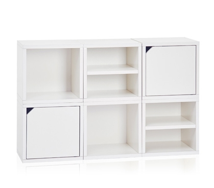 6 Cube Stackable Dorm Storage - White Dorm room organizer