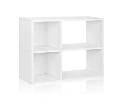 2 Shelf Dorm Storage Bookcase White - Way Basics Dorm Storage Solutions