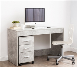 Yak About It Simple Style Work Desk (Includes 3 Drawer Unit) - Marble Gray