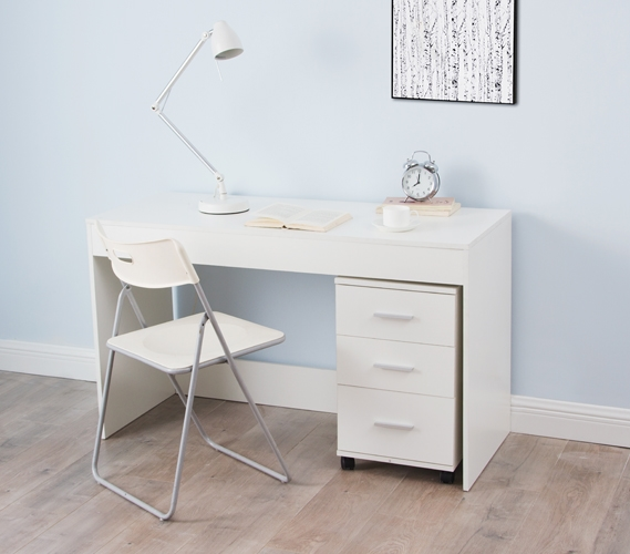 Yak About It Simple Style Work Desk Includes 3 Drawer Unit White