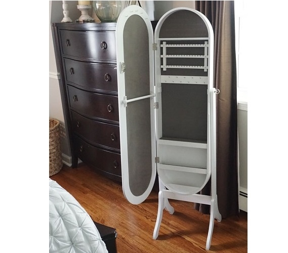 College Ave Full Length Mirror Jewelry Stand Classic White Oval