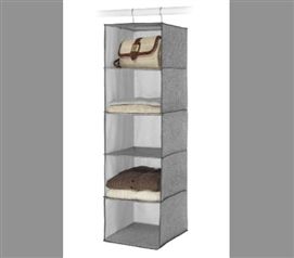 5 Shelf Crosshatch Gray Accessory Shelf Hanger Dorm Organizer