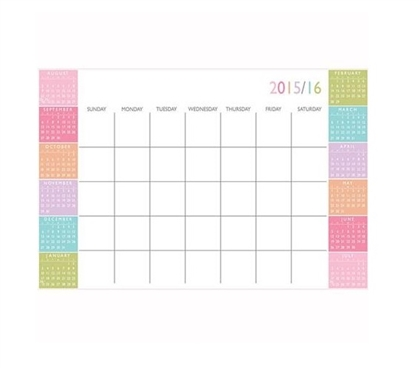 Dorm Essentials Color Block Academic Calendar Wall Art - Peel N Stick