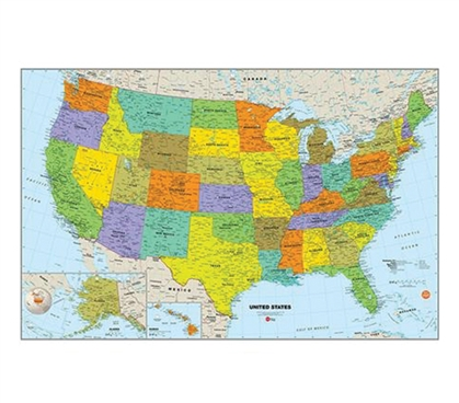USA Dry Erase Map Wall Art - Peel N Stick College Supplies Dorm Essentials