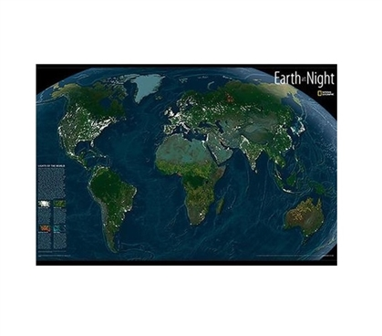 Earth at Night Glow in the Dark Wall Art - Peel N Stick - Dorm Room Decor