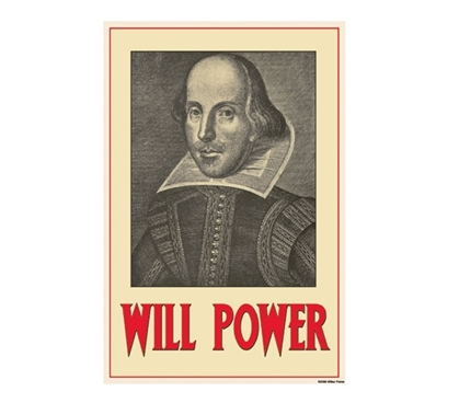 William Shakespeare Will Power Tin Sign Dorm Decor