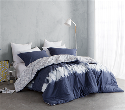 Reversible College Designer Comforter Navy And White