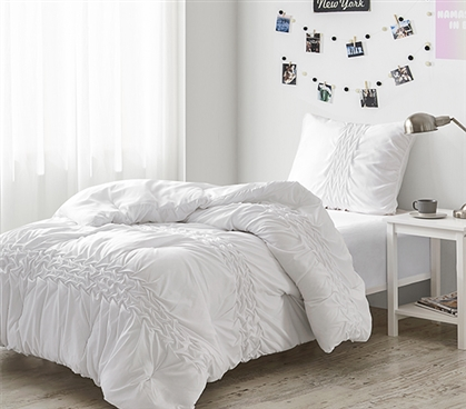 Pleated Knit and Loop Textured Twin XL Comforter