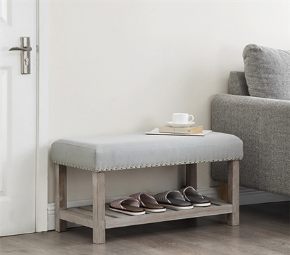 Central Style® Cushion Bench - Farmhouse Wood with Gray Cushion - Compact