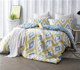 Yellow and Teal Diamond Patterned Dorm Comforter Set Reversible Extra Long Twin Comforter