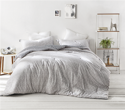 Extra Long Twin Comforter White and Gray Arrow Patterned College Comforter