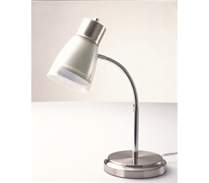 Useful Dorm Supply - Gooseneck College Desk Lamp - White - Great For Studying In College