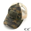 Camo USA Flag Pony Cap