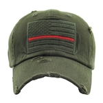 Thin Red Line Olive American Flag Cap