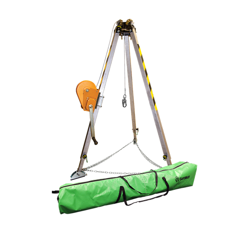 SafeWaze 019-11001  7' Adjustable Tripod Kit with 65' Material Winch and Storage Bag