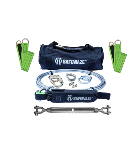 SafeWaze 019-8024 2 Person 30' Cable Horizontal Lifeline Kit with Cross Arm Straps and Energy Absorber