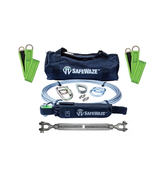 SafeWaze 019-8025 2 Person 60' Cable Horizontal Lifeline Kit with Cross Arm Straps and Energy Absorber