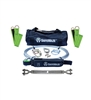 SafeWaze 019-8027 2 Person 100' Cable Horizontal Lifeline Kit with Cross Arm Straps and Energy Absorber