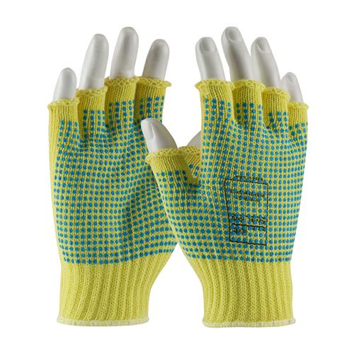 PIP 08-K259PDD Kut-Gard Seamless Knit Kevlar® Glove with Double-Sided PVC Dot Grip - Half-Finger - Box/12 Pairs