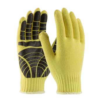 PIP 08-K300PS Kut-Gard Seamless Knit Kevlar® Glove with PVC Tiger Paw Grip - Medium Weight, ANSI Cut Level 2 - Box/12 Pairs