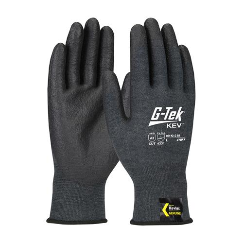 PIP 09-K1218 G-Tek Kev ANSI Cut Level 3 Seamless Knit Kevlar Blended Glove with Nitrile Foam Grip Touch Screen Compatible Box/12 Pairs