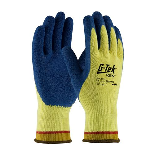 PIP 09-K1300 G-Tek KEV Seamless Knit Kevlar Glove, Latex Coated Crinkle Grip, ANSI Cut Level A4 - Box/12 Pairs