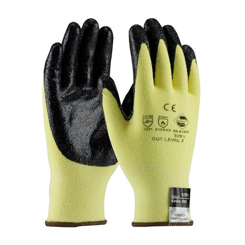 PIP 09-K1450 G-Tek KEV Seamless Knit Kevlar / Lycra Glove with Nitrile Coated Smooth Grip on Palm & Fingers - Medium Weight - Box/12 Pairs