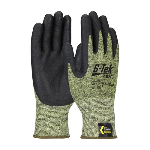 PIP 09-K1600 G-Tek Kev ANSI Cut Level 5 Seamless Knit Kevlar Blended Glove with Nitrile Foam Grip Touch Screen Compatible Box/12 Pairs