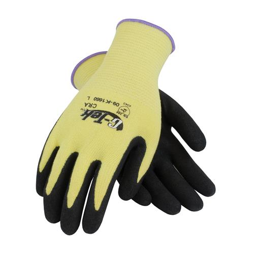 PIP 09-K1660 G-Tek KEV Seamless Knit Kevlar Glove with Nitrile Coated MicroSurface Grip on Palm & Fingers - Medium Weight - Box/12 Pairs