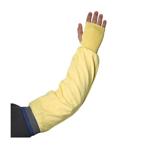 "PIP 10-4IK157 Kut-Gard Single-Ply Kevlar Sleeve with Blue/Gold Elastic End and Thumb Hole, 15"" Length - Box/ 12 Sleeves"